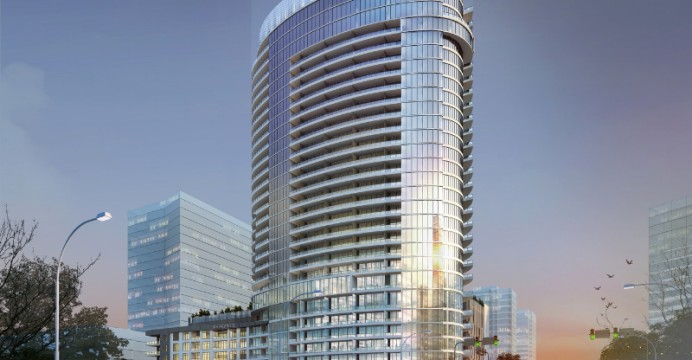 Outer design of new 30-story luxury high-rise in Legacy West development in Plano, Texas.
