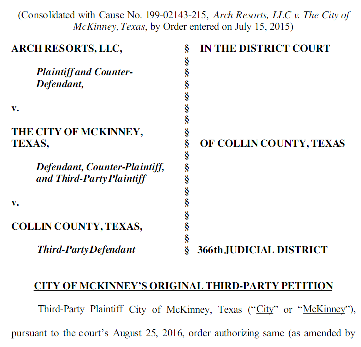 Mckinney sues Collin County